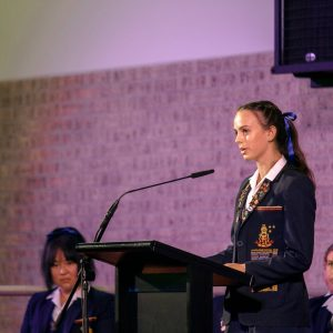 School Captain Addressing Assembly
