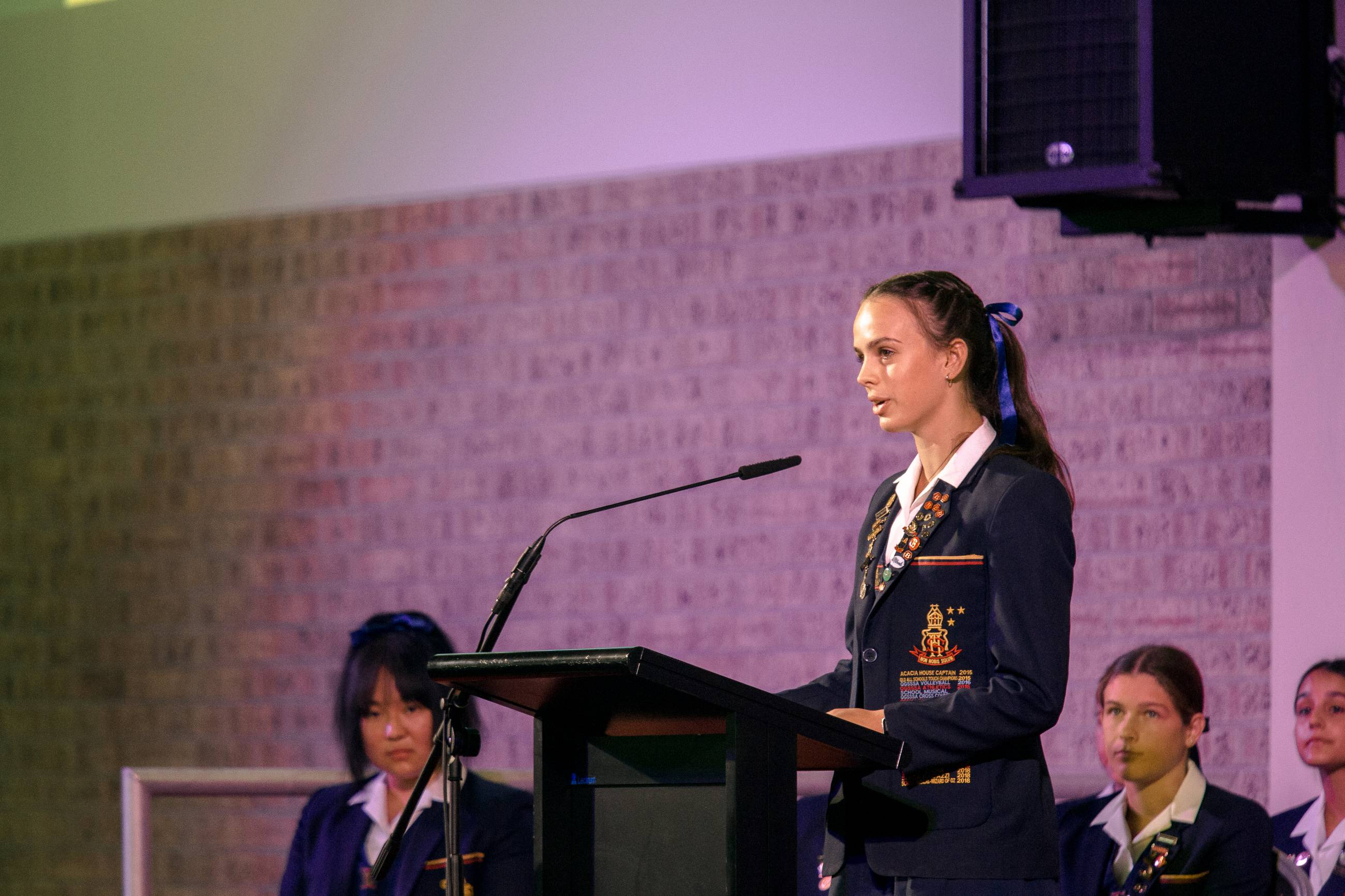 School Captain Addressing Assembly